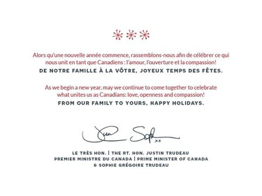 The interior of Canadian Prime Minister Justin Trudeau's holiday card.