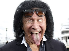 Gene Simmons sticks his tongue in this Oct. 14, 2014, file photo. (VALERY HACHE/AFP/Getty Images)