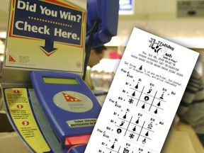 This file photo shows an OLG lottery ticket checker in Ontario on Oct. 25, 2006 alongside a South Carolina Holiday Cash Add-A-Play ticket.