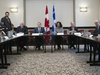 Minister of International Trade and Francois-Philippe Champagne and Quebec's Minister of the Economy, Science and Innovation Dominique Anglade meet with stake holders as NAFTA talks begin in Montreal on Monday January 22, 2018. THE CANADIAN PRESS/Graham Hughes ORG XMIT: GMH105