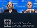 Bank of Canada senior deputy governor Carolyn Wilkins and Bank of Canada governor Stephen Poloz listen to a question during a news conference in Ottawa, Wednesday Jan. 17, 2018. THE CANADIAN PRESS/Adrian Wyld