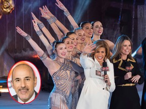 """In this Nov. 29, 2017, file photo, Savannah Guthrie, right, and Hoda Kotb appear with the Rockettes during the 85th annual Rockefeller Center Christmas Tree lighting ceremony in New York. Kotb will replace Matt Lauer (inset) as co-anchor of the """"Today"""" show. (Charles Sykes/Invision/AP, File/Nathan Congleton/NBC via AP)"""