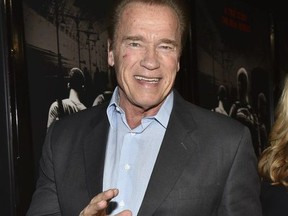 """Former Governor of California Arnold Schwarzenegger arrives at the premiere of Warner Bros. Pictures' """"The 15:17 to Paris"""" at Warner Bros. Studios on February 5, 2018 in Burbank, California."""