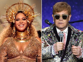 Beyonce and Elton John. (Getty Images photos)