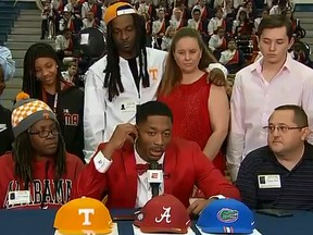 Receiver Jacob Copeland of Escambia High School in Florida announces his choice of college on live TV.