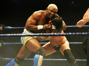 Shelton Benjamin puts CM Punk into a headlock during WWE Smackdown at Acer Arena on June 15, 2008 in Sydney, Australia.