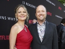 In this March 30, 2017 photo, Joan Marie and Author Jay Asher appear at the Netflix