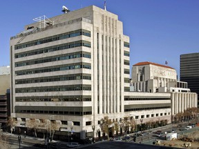 This Jan. 9, 2007, file photo shows the Los Angeles Times buildings in downtown Los Angeles. (AP Photo/Reed Saxon, File)