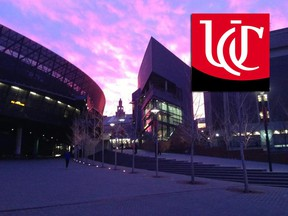 In this Facebook photo, the University of Cincinnati campus is seen alongside its logo.
