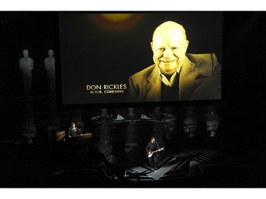 Don Rickles appears on screen as Eddie Vedder performs during an In Memoriam tribute at the Oscars on Sunday, March 4, 2018, at the Dolby Theatre in Los Angeles.