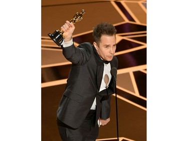 Actor Sam Rockwell accepts Best Suppoorting Actor for 'Three Billboards Outside Ebbing, Missouri' onstage at the 90th Annual Academy Awards at the Dolby Theatre at Hollywood & Highland Center on March 4, 2018 in Hollywood, California.