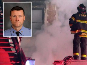 FDNY Firefighter Michael R. Davidson of Engine Company 69 alongside a photo provided by WPIX-11 showing New York Firefighters at the scene of a raging fire at an unoccupied residential building being used as a film set in the Harlem section of New York on Thursday, March 22, 2018.