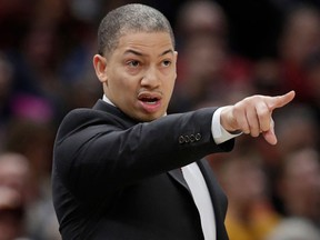 Cleveland Cavaliers head coach Tyronn Lue yells instructions to players during an NBA game against the Denver Nuggets on March 3, 2018