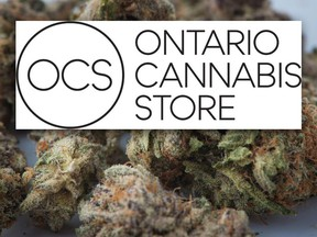 Medical marijuana is shown in Toronto on November 5, 2017 alongside the logo for the Ontario Cannabis Store announced on Mar. 9, 2018.