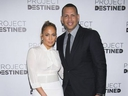 Jennifer Lopez, left, and Alex Rodriguez arrive at Project Destined Bronx Bootcamp at Yankee Stadium on Sunday, March 4, 2018, in New York.
