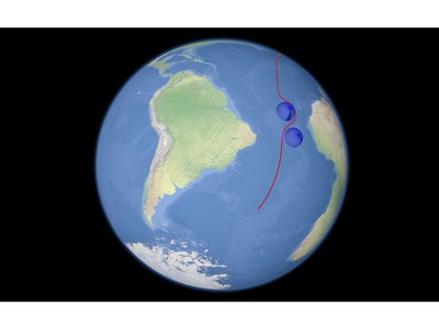 In this video grab provided by RU-RTR Russian television via AP television on Thursday, March 1, 2018, a computer simulation shows the flight of a prospective Russian nuclear-powered cruise missile en route to target.