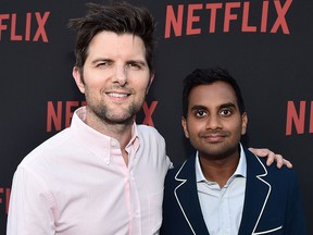 """Adam Scott and Aziz Ansari attend Netflix's """"Master Of None"""" For Your Consideration Event at the Saban Media Center on June 5, 2017 in North Hollywood, Calif.  (Alberto E. Rodriguez/Getty Images)"""