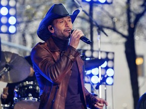 """FILE - In this Nov. 17, 2017, file photo, Tim McGraw performs on NBC's """"Today"""" show at Rockefeller Plaza in New York. McGraw collapsed onstage during a performance in Dublin, Ireland, Sunday, March 11, 2018, the Rolling Stone reports."""