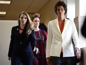 Andrea Constand (R) plaintiff for the Bill Cosby trial arrives at the Montgomery County Courthouse for the fifth day of his sexual assault retrial on April 13, 2013 in Norristown, Pennsylvania.  (Corey Perrine - Pool/Getty Images)