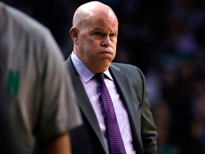 In this Feb. 28, 2018, file photo, Charlotte Hornets head coach Steve Clifford is shown during the first quarter of an NBA basketball game against the Boston Celtics