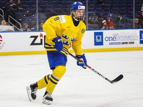 Sweden's Rasmus Dahlin skates during first period IIHF World Junior Championship preliminary hockey action against Russia, in Buffalo, N.Y., on Dec. 31, 2017