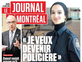 Police Science student Sondos Lamrhari appears on the front page of the Apr. 12, 2018 issue of Le Journal de Montreal.