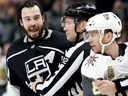 Los Angeles Kings defenceman Drew Doughty reacts after getting hit with a stick by Vegas Golden Knights center Jonathan Marchessault during Game 3 on April 15, 2018