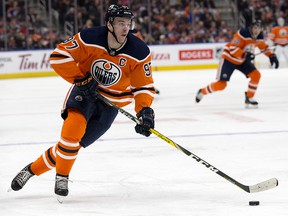 Edmonton Oilers' Connor McDavid (97) skates with the puck against the Columbus Blue Jackets at Rogers Place, in Edmonton Tuesday March 27, 2018. (David Bloom/Postmedia)