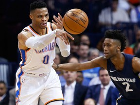 Oklahoma City Thunder guard Russell Westbrook passes the ball in front of Memphis Grizzlies guard Kobi Simmons during NBA action on April 11, 2018