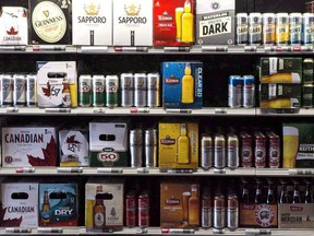 Beer products are on display at a Toronto beer store on Thursday, April 16, 2015.
