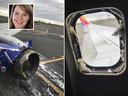 These Facebook photos posted by passenger Marty Martinez show engine and window damage to Southwest Airlines Flight 1380 after an emergency landing in Philadelphia on Apr. 17, 2018. Passenger Jennifer Riordan (inset) hit by shrapnel that smashed a window and later died from her injuries.