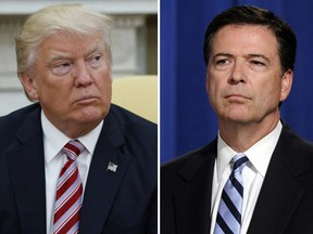 In this combination photo, President Donald Trump, left, appears in the Oval Office of the White House in Washington on May 10, 2017, and FBI Director James Comey appears at a news conference in Washington on June 30, 2014. (Evan Vucci/Susan Walsh/AP Photos/Files)