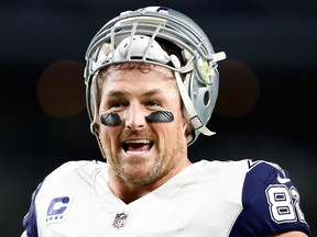 Jason Witten of the Dallas Cowboys smiles during warm-ups before the football game against the Washington Redskins at AT&T Stadium on Nov. 30, 2017