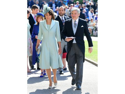 Carol Middleton and Michael Francis Middleton arrive for the wedding ceremony of Britain's Prince Harry, Duke of Sussex and US actress Meghan Markle at St George's Chapel, Windsor Castle, in Windsor, on May 19, 2018.