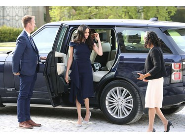 Meghan Markle, centre and her mother, Doria Ragland, arrive at Cliveden House Hotel, in Berkshire, England, Friday, May 18, 2018 to spend the night before her wedding to Prince Harry on Saturday. (Steve Parsons/Pool Photo via AP) ORG XMIT: LON107