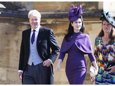 Charles Spencer, Earl Spencer and his wife, Countess Spencer arrive the wedding ceremony of Prince Harry and Meghan Markle at St. George's Chapel in Windsor Castle in Windsor, near London, England, Saturday, May 19, 2018. (Chris Jackson/pool photo via AP) ORG XMIT: RWW710