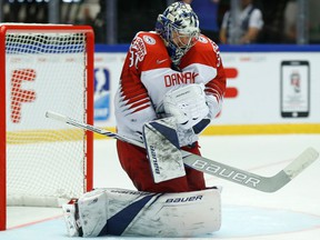 Denmark's Frederik Andersen makes a save during a Group B match between Denmark and Latvia at the Jyske Bank Boxen arena in Herning, Denmark, on May 15, 2018
