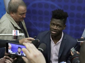 Mohamed Bamba, from Texas, speaks with the media at the NBA draft combine Thursday, May 17, 2018, in Chicago. (AP Photo/Charles Rex Arbogast)