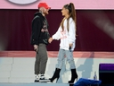 In this handout provided by 'One Love Manchester' benefit concert (L) Mac Miller and Ariana Grande perform on stage on June 4, 2017 in Manchester, England. Donate at www.redcross.org.uk/love (Photo by Getty Images/Dave Hogan for One Love Manchester)