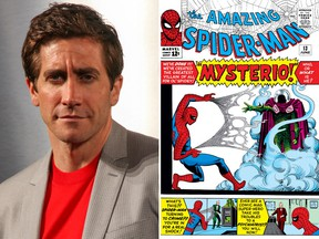Jake Gyllenhaal (left) is in talks to play Mysterio. Kelly Sullivan/Getty Images/Amazing Spider-man cover/Supplied)