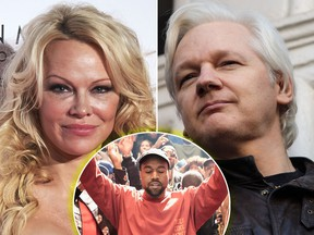 Pamela Anderson (L) wants Kanye West (C) to help Julian Assange. (Carlos Alvarez/Getty Images/Jack Taylor/Getty Images/Dimitrios Kambouris/Getty Images for Yeezy Season 3)