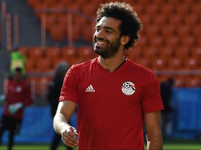 Egypt's forward Mohamed Salah takes part in a training session at Ekaterinburg Stadium in Ekaterinburg on June 14, 2018, a day ahead the team's Russia 2018 World Cup Group A opening football match against Uruguay. (Anne-Christine Poujoulat/Getty Images)