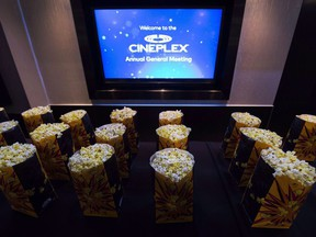 Bags of popcorn are shown during the Cineplex Entertainment company's annual general meeting in Toronto on May 17, 2017.