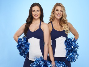 """Toronto Argonauts cheerleaders Leanne Larsen, 25, and Marielle """"Mar"""" Lyon, 26 are seen in this undated handout photo. On """"The Amazing Race Canada: Heroes Edition,"""" premiering July 3 on CTV, there are two retired air force pilots and Toronto Argonauts cheerleaders. (THE CANADIAN PRESS/HO, Bell Media)"""