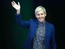 Ellen DeGeneres greets the crowd at the Saddledome in Calgary on April 21, 2018.