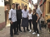This handout image taken on Monday June 4, 2018, and released by Jean-David Schroeder on Friday June 8, 2018, shows Julien Schroeder, center, the chef of the Petite Venise restaurant in Colmar, eastern France, posing with his wife Virginie Schroeder, center right, Eric Ripert, 2nd left, and Anthony Bourdain, right. A prosecutor in France says Anthony Bourdain apparently hanged himself in a luxury hotel in the small town of Kaysersberg. French media quoted Colmar prosecutor Christian de Rocquigny du Fayel as saying that