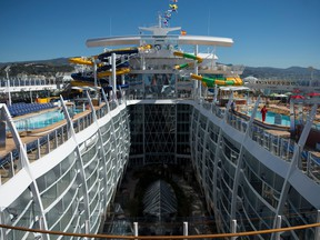 "A picture shows the Royal Caribbean's ""Symphony of the Seas"" during its presentation in Malaga on March 27, 2018. (Jorge Guerrero/Getty Images)"
