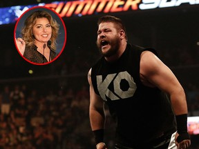 WWE star Kevin Owens (right) is a big fan of Shania Twain. On Twitter, Owens requested Twain perform his favourite song, When, during her Montreal concert tour stop on June 26. (Getty Images)