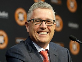 Houston Astros' Jeff Luhnow smiles during a news conference to announce his promotion to President of Baseball Operations and General Manager Monday, June 18, 2018, in Houston.