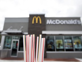 Plastic straws from a McDonald's restaurant are shown in Doral, Fla. McDonald's said Friday, June 15, 2018 it will switch to paper straws at all its locations in the United Kingdom and Ireland, and test an alternative to plastic ones in some of its U.S. restaurants later this year. (AP Photo/Wilfredo Lee)